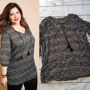 Avon Valeri Beaded Peasant Tassel Print Tunic Top